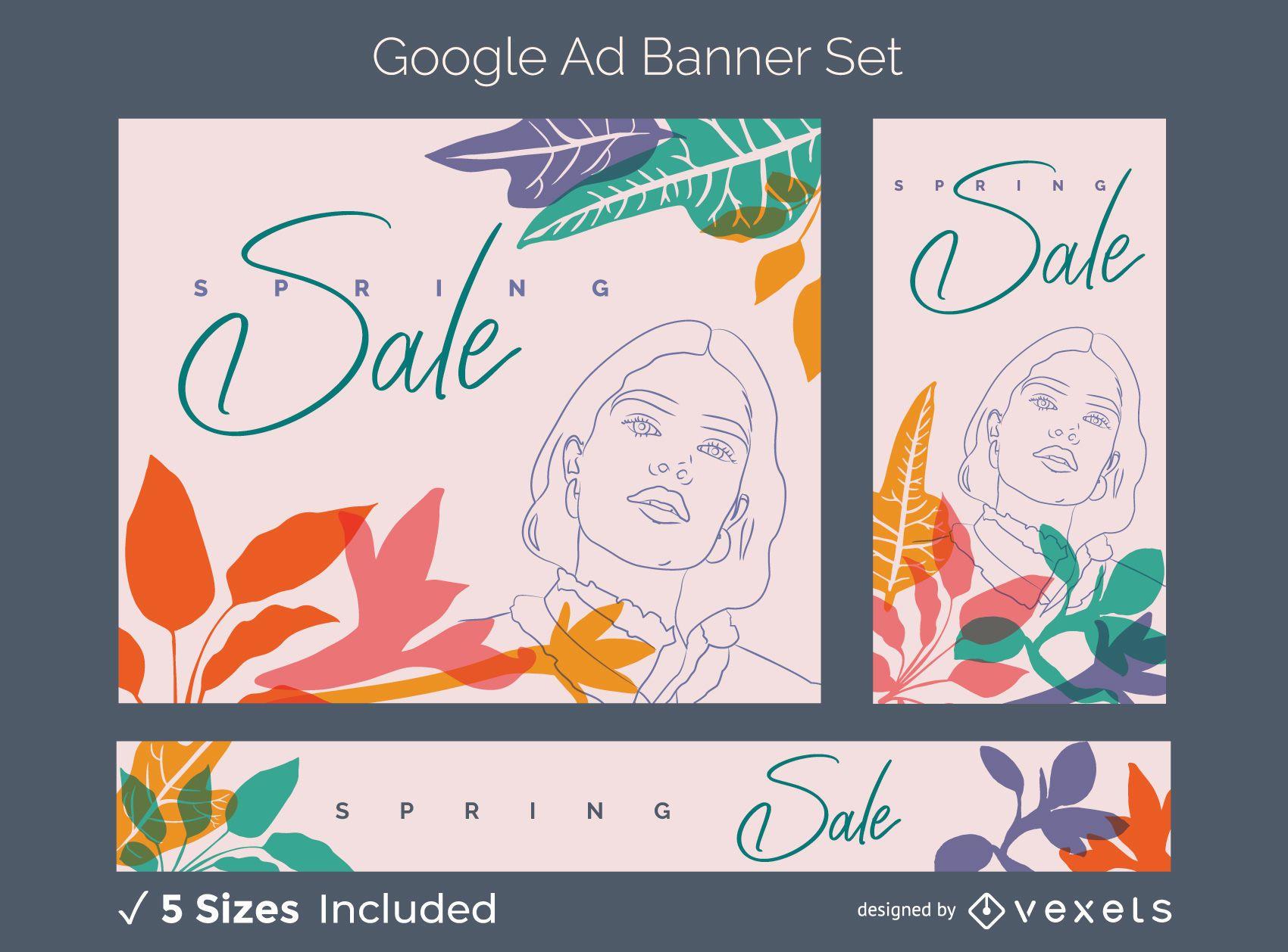 Spring sale ad banner set