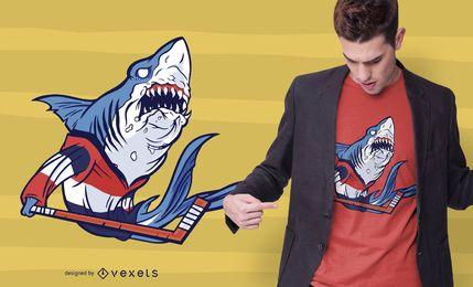 Design de camiseta de tubarão de hóquei