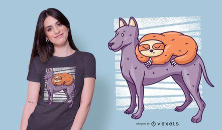 Preguiça no design do t-shirt do cão