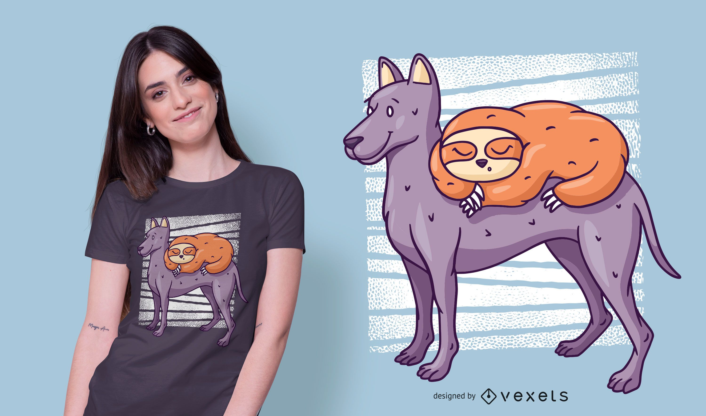 Faultier auf Hund T-Shirt Design