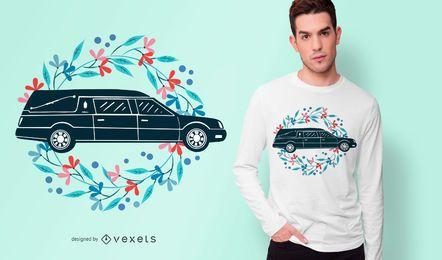 Diseño floral de camiseta de coche fúnebre