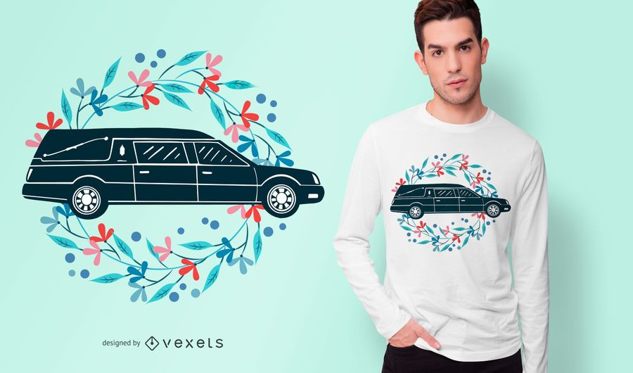 Floral Hearse Car T-shirt Design