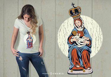 Diseño de camiseta de la estatua de la Virgen María
