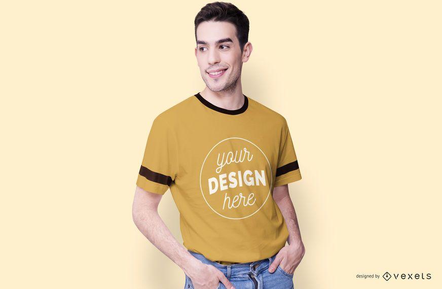 Smiling Male Model T Shirt Mockup Psd Mockup Download