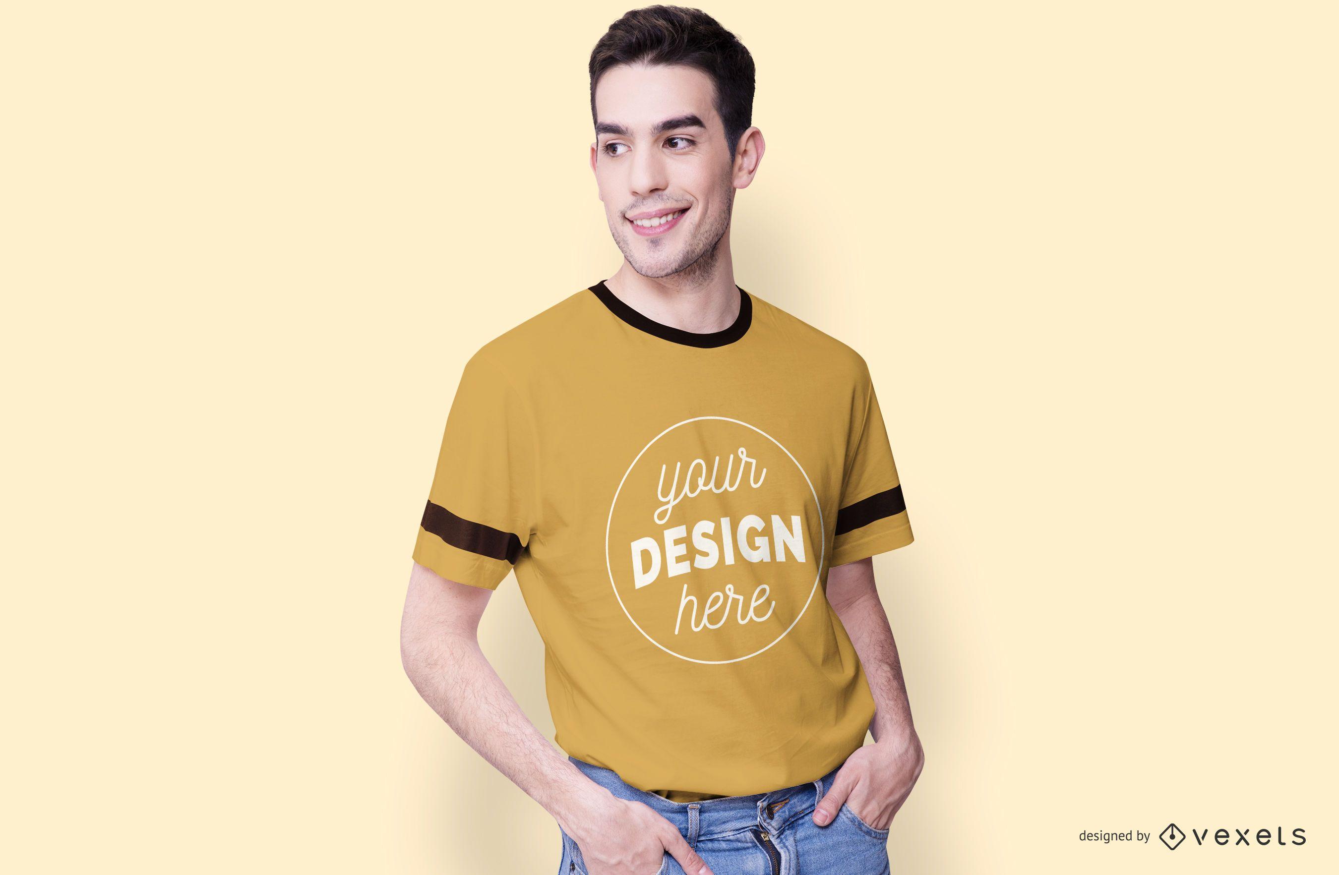 Smiling Male Model T-shirt Mockup