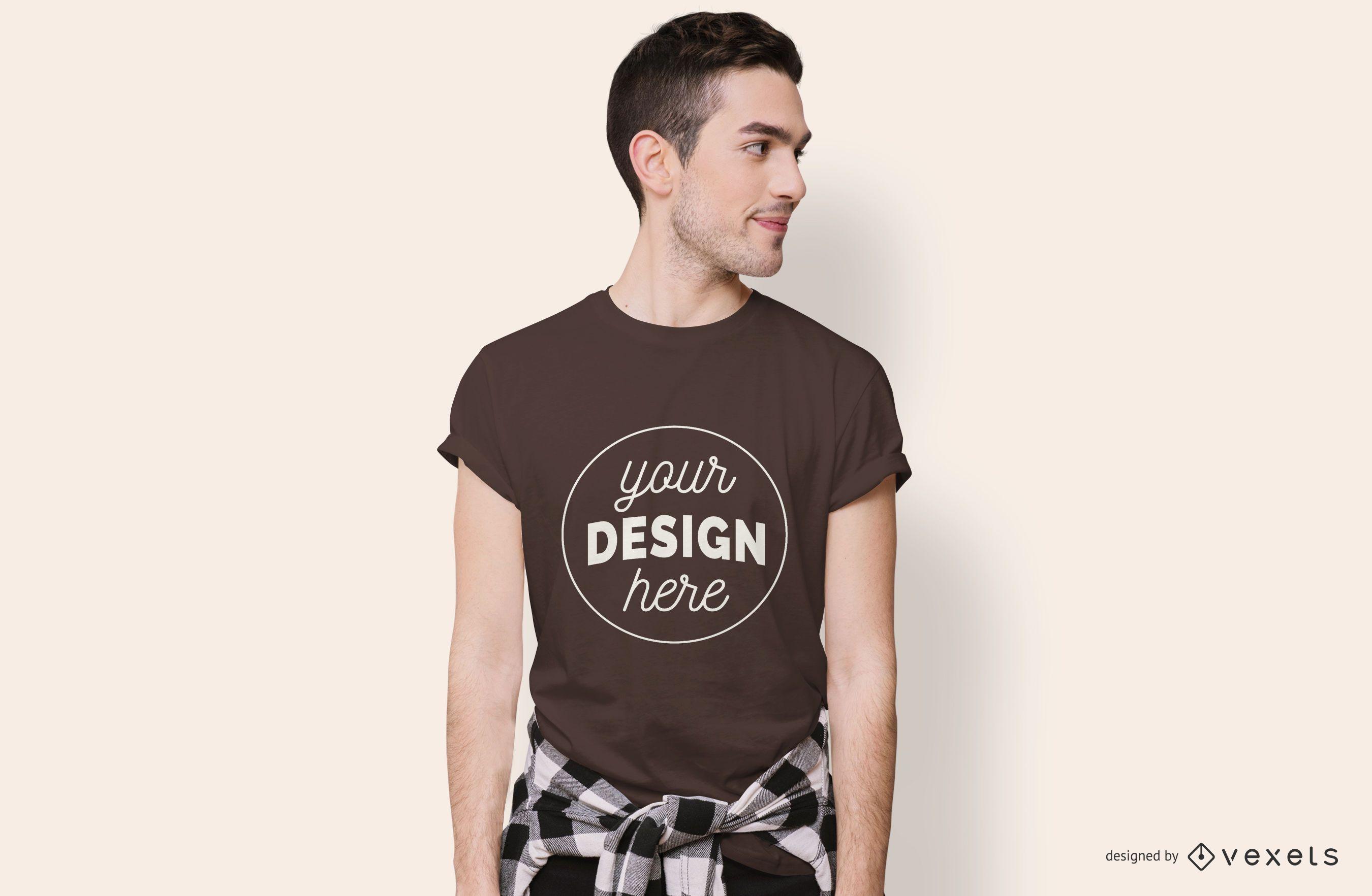 Maqueta de camiseta de ni?o mirando hacia los lados