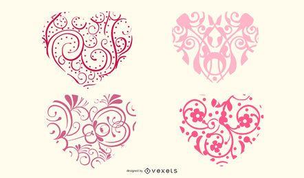 Formas de coração ornamentais