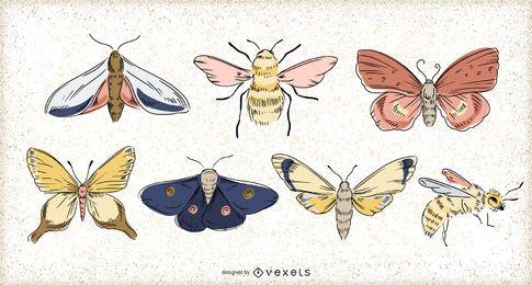 Conjunto de ilustração de inseto da primavera