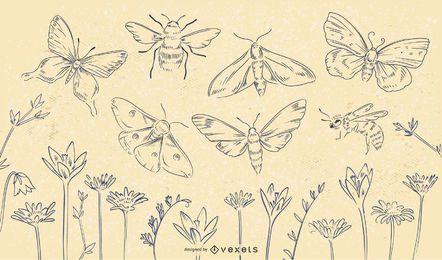 Conjunto de trazos de flores de insectos de primavera