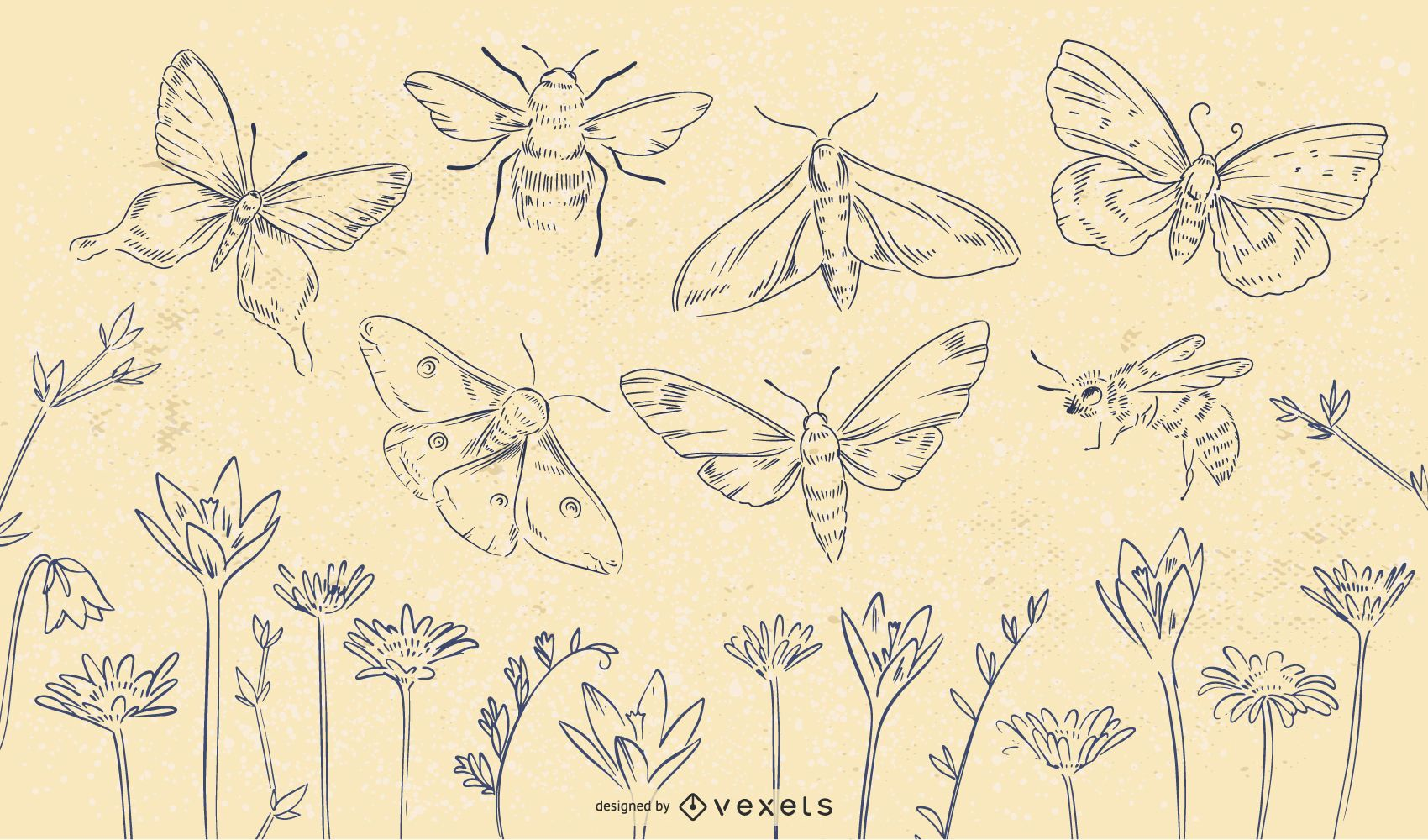 Spring Insects Flowers Stroke Set