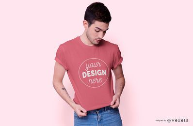 Male model t-shirt mockup design