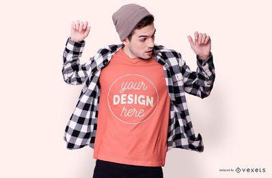 Boy With Beanie T-shirt Mockup