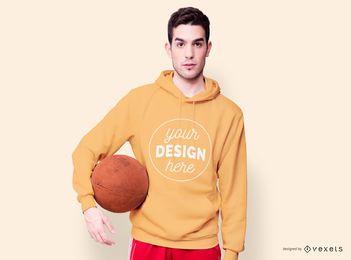 Maquete de basquete com capuz