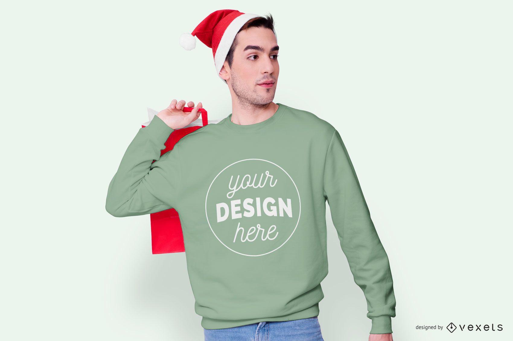 Sweatshirt model christmas mockup