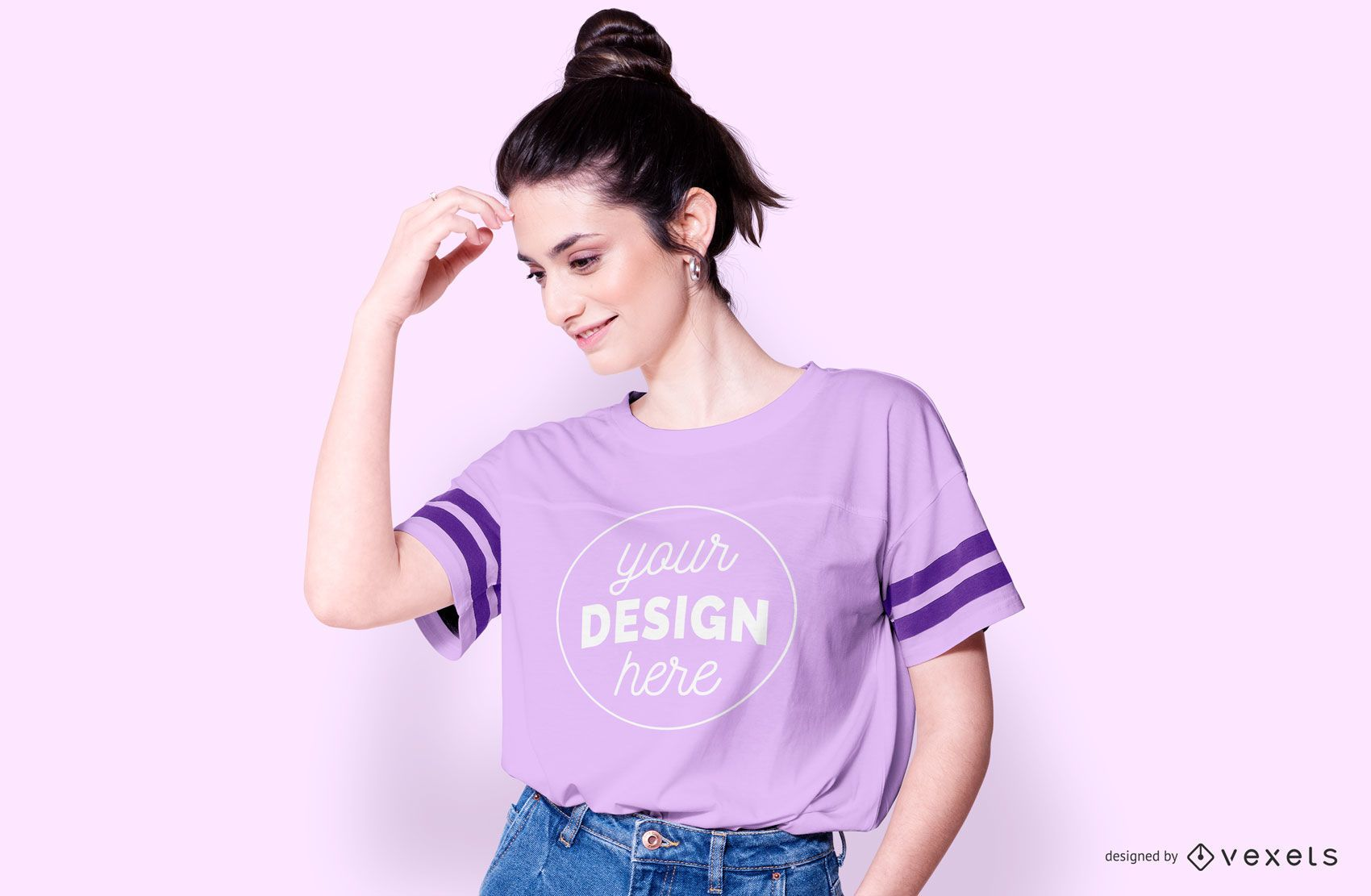 T-shirt with stripes woman mockup