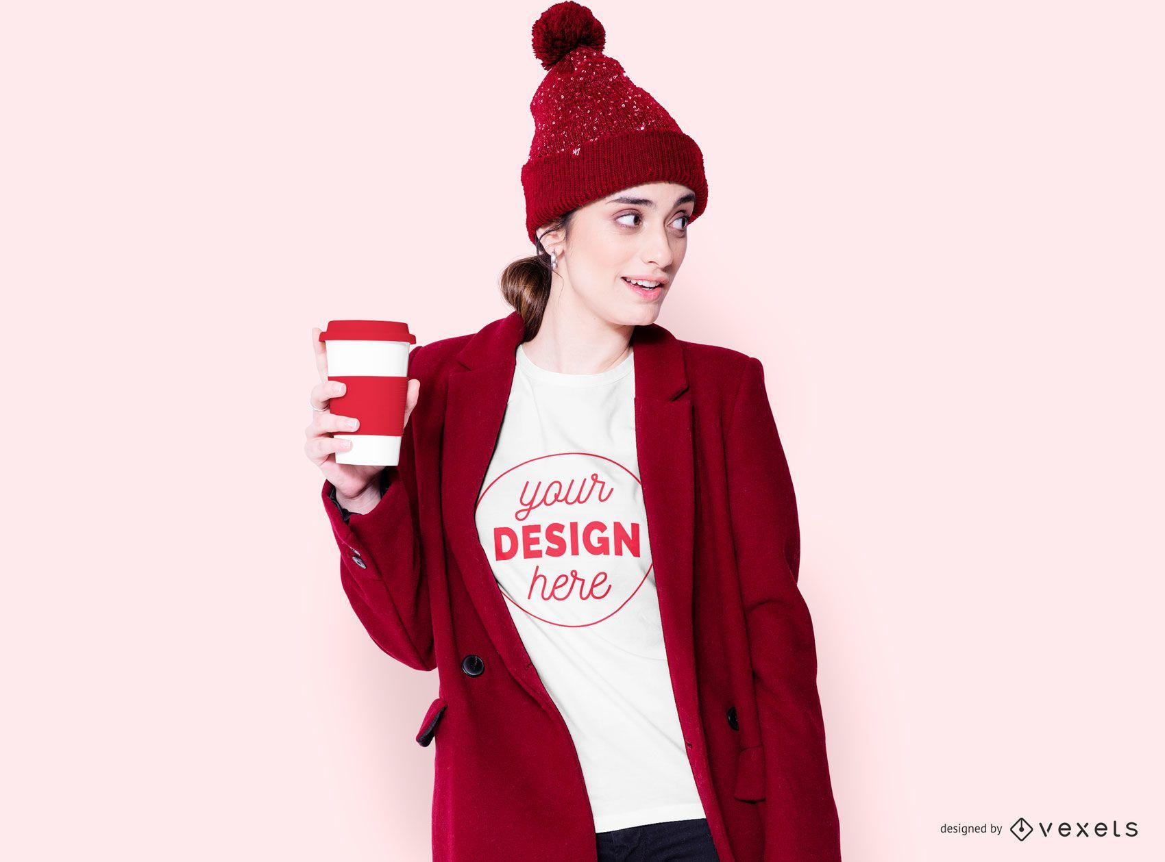 Dise?o de camiseta Winter Girl With Coffee