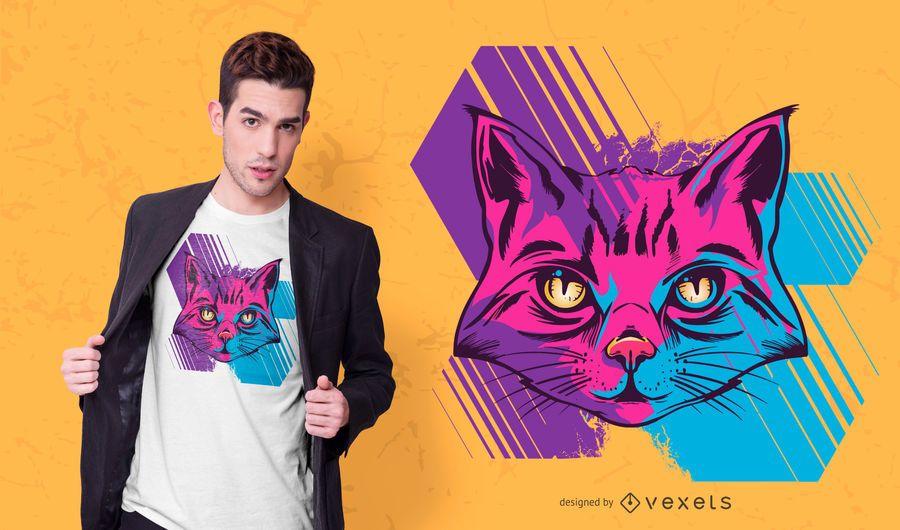 Diseño de camiseta trippy cat