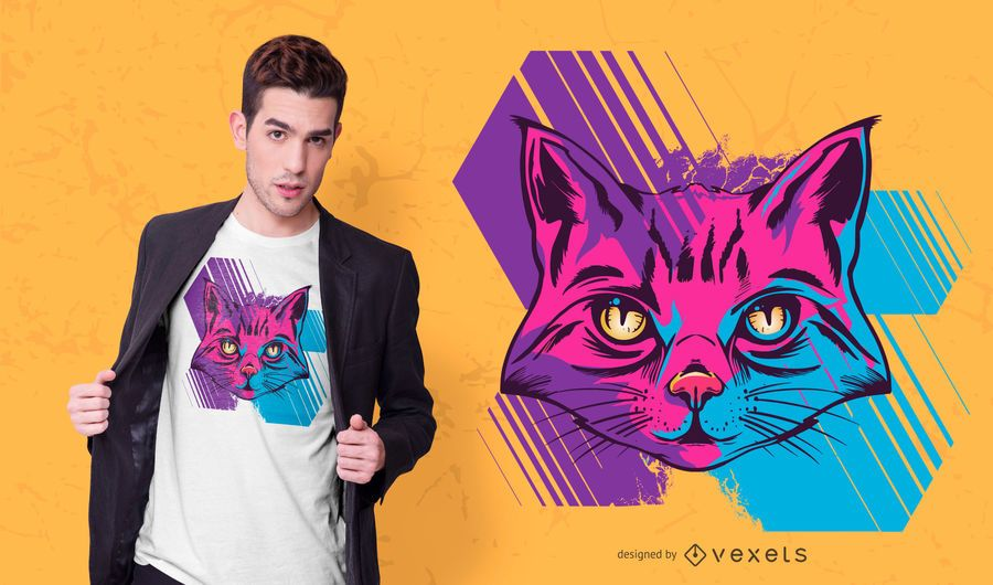 Trippy Katzent-shirt Entwurf