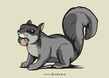 Grey squirrel illustration