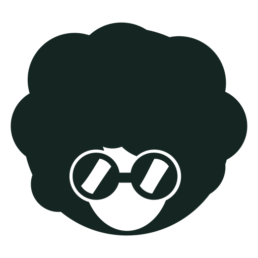 70s afro glasses silhouette Transparent PNG