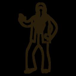 Personagem de traço de movimento disco dos anos 70