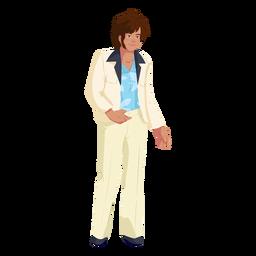 Personagem de roupa de homem dos anos 70