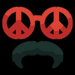 70er Jahre Peace Brille Schnurrbart flach