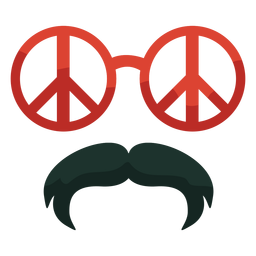 70s peace glasses moustache flat
