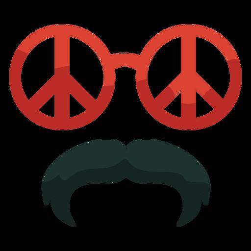 70s gafas de paz bigote plano Transparent PNG