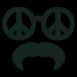 70er Jahre Peace Brille Schnurrbart Schlaganfall