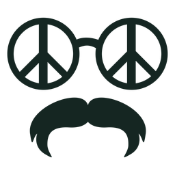70s gafas de paz bigote golpe