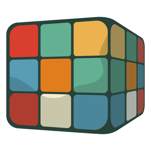 70s rubik's cube flat Transparent PNG