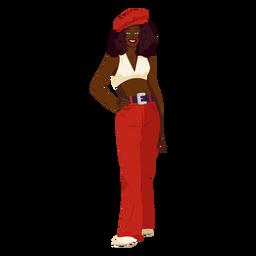 70s womanan traje rojo personaje