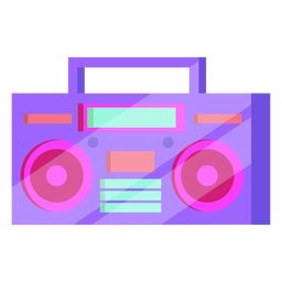 80s cassette player colorful