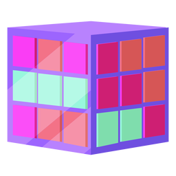 80s rubik cube colorful