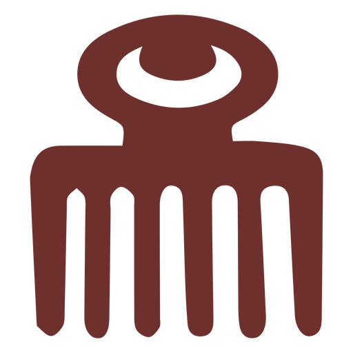 African symbol wooden comb stroke
