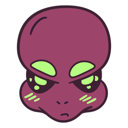 Alien's big head eyebrows colorful stroke