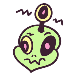 Cabeça de alienígena antena olho colorido