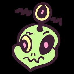 Ojo de antena de cabeza alienígena colorido