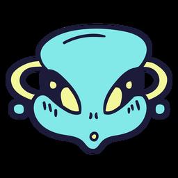 Alien's head astonished colorful stroke