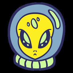 Alien's head astronaut casco colorido trazo