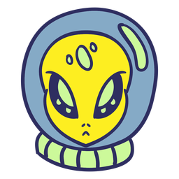 Cabeza de alienígena casco de astronauta trazo colorido