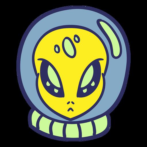 Alien's head astronaut casco colorido trazo Transparent PNG