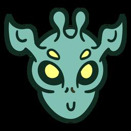 Alien's head colorful horns stroke