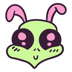 Alien's head colorful rabbit stroke
