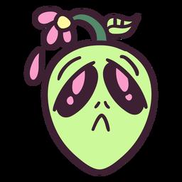 Cabeza de Alien colorido trazo de flor triste