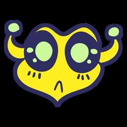 Cabeza de alienígena confundido trazo colorido