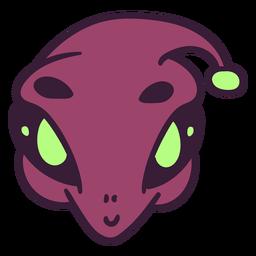 La cabeza de Alien lindo trazo púrpura