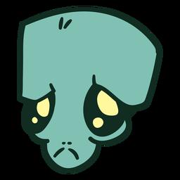 Alien's head green sad stroke