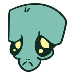 Traço triste verde da cabeça do estrangeiro